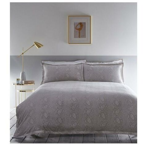 Karen Millen Snakeskin Jacquard Oxford Pillowcase Pair Dove Grey