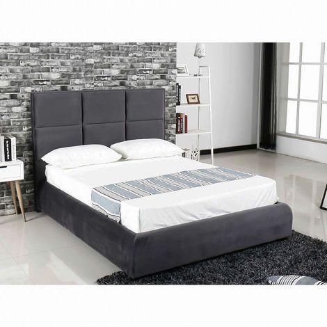 KARLA - Lit 160x200 cm en tissu gris velours