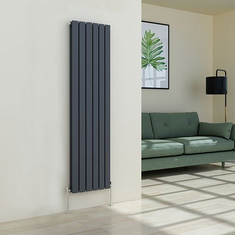 Karlstad 1600 x 410mm Anthracite Double Flat Panel Vertical Radiator
