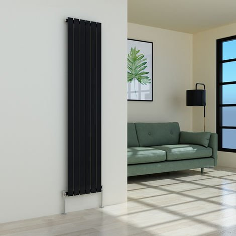 Karlstad 1800 x 410mm Black Single Flat Panel Vertical Radiator
