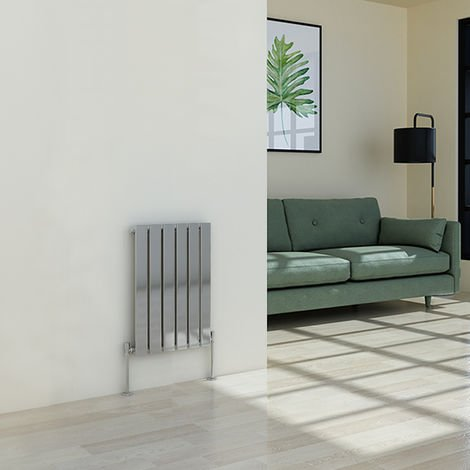Karlstad 600 x 410mm Chrome Single Flat Panel Horizontal Radiator