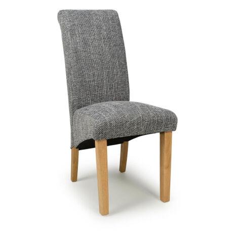 Karma Scroll Tweed Grey Chair