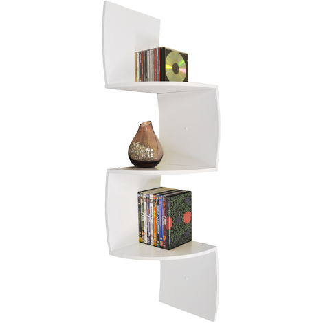 KARO - Curved 113cm Wall Mounted Floating 3 Tier Corner Shelf - White