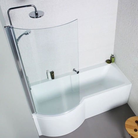 Kartell Adapt P-Shaped Shower Bath 1700mm X 850mm Left Hand