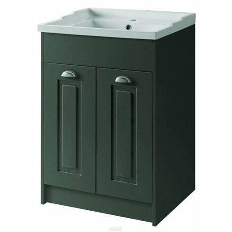 Kartell Astley Floor Standing 2 Door Unit & Ceramic Basin 600mm - Matt Grey