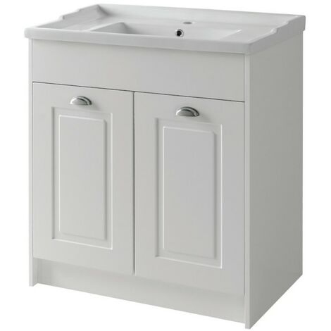Kartell Astley Floor Standing 2 Door Unit & Ceramic Basin 800mm - Matt White