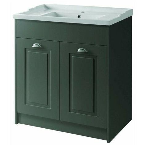 Kartell Astley Traditional Floor Standing 2 Door Vanity Unit and Ceramic Basin 800mm - Matt Grey