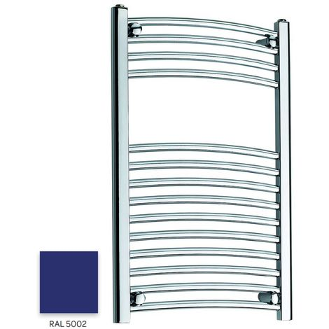 Kartell Blue 800mm x 300mm Curved 22mm Towel Rail - CTR308-RAL5002