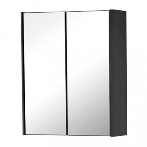 """main image of """"Kartell Cayo 2-Doors Mirrored Bathroom Cabinet 600mm H x 500mm W - Anthracite"""""""