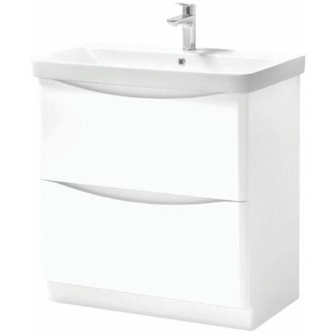 Kartell Cayo 2-Drawer Floor Standing Vanity Unit with Basin 800mm - White