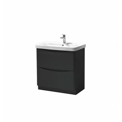 Kartell Cayo Floor Standing 2 Drawer Unit & Ceramic Basin 800mm - Anthracite