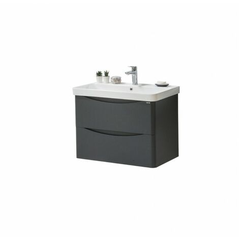 Kartell Cayo Wall Mounted 2 Drawer Unit & Ceramic Basin 800mm - Anthracite