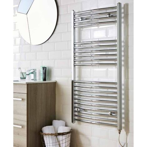 Kartell Chrome 1200mm x 500mm Curved Electric Thermostatic Towel Rail - ETCTR512C