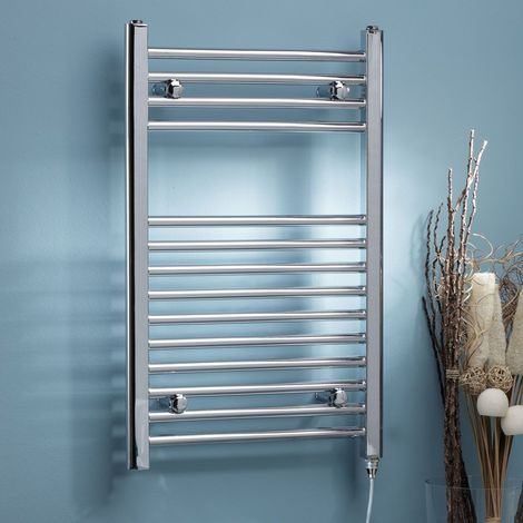 Kartell Chrome 800mm x 500mm Straight Electric Thermostatic Towel Rail - ETSTR508C