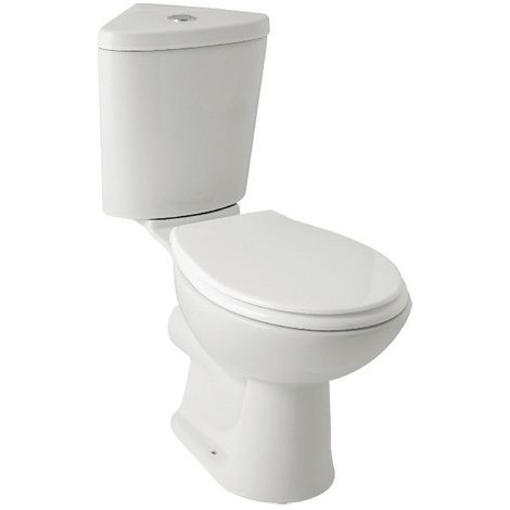 Kartell G4k Ceramic Closed Couple Corner Toilet WC Pan With Corner Cistern & Supreme Soft Close Seat