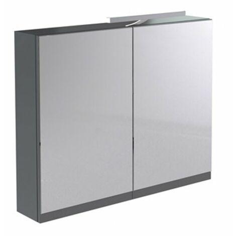 Kartell Ikon Mirror Cabinet with Light & Shaver Socket 600mm Gloss Grey