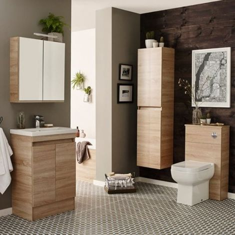 Kartell Ikon Mirror Cabinet with Light & Shaver Socket 600mm Natural Oak