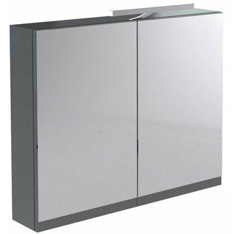 Kartell Ikon Mirror Cabinet with Light & Shaver Socket 800mm Gloss Grey