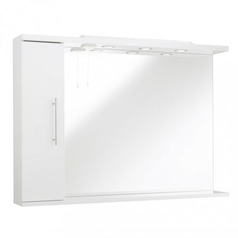 Kartell Impakt Bathroom Mirror With Side Cabinet & Lights 1050mm