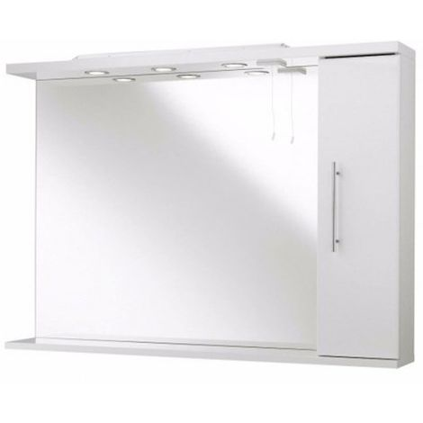 Kartell Impakt Bathroom Mirror With Side Cabinet & Lights 850mm