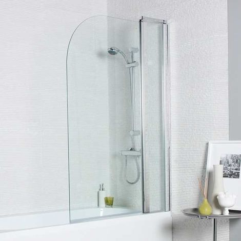 Kartell Koncept Straight Bath Screen Radius Edge with Extension Panel 1400mm x 1000mm