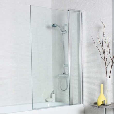 Kartell Koncept Straight Bath Screen Square Edge with Extension Panel 1400mm x 1000mm