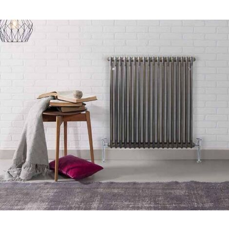 Kartell Laser Klassic Raw Metal 600mm x 650mm Double Column Horizontal Radiator - RMLCL206014