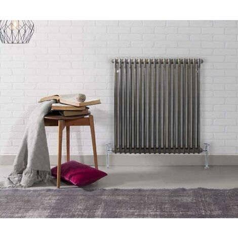 Kartell Laser Klassic Raw Metal 600mm x 830mm Double Column Horizontal Radiator - RMLCL206018