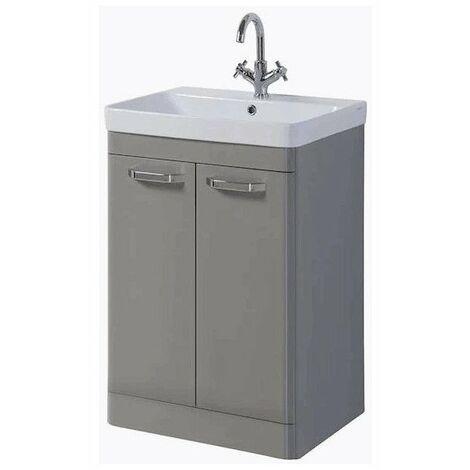 Kartell Options 2-Door Floor Standing Vanity Unit with Basin 500mm Besalt Grey - 1 Tap Hole