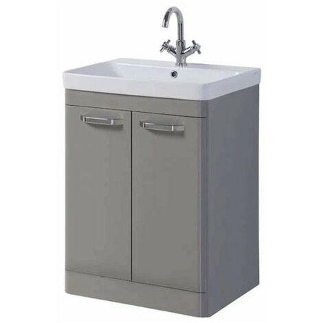 Kartell Options 2-Door Floor Standing Vanity Unit with Basin 600mm Besalt Grey - 1 Tap Hole