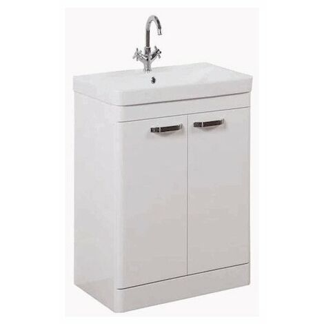 Kartell Options 2-Door Floor Standing Vanity Unit with Basin 600mm White - 1 Tap Hole