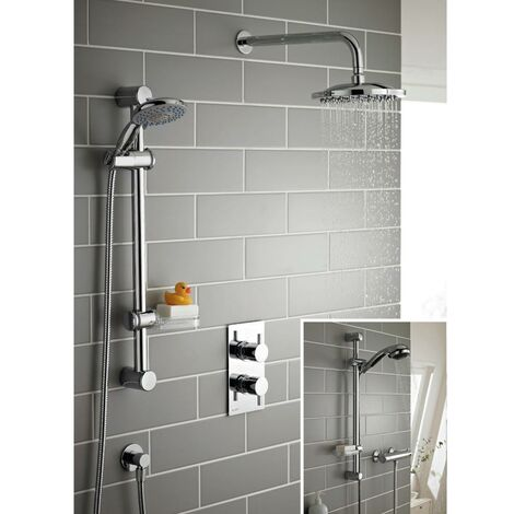 Kartell Plan Triple Thermostatic Concealed Shower with Adjustable Slide Rail Kit and Overhead Drencher