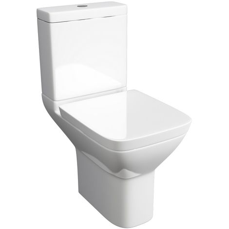 Kartell Project Square Ceramic Closed Couple Toilet WC Pan With Cistern & Soft Close Seat