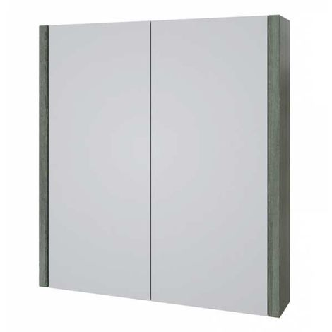 Kartell Purity Mirrored Bathroom Cabinet 600mm W Grey Ash