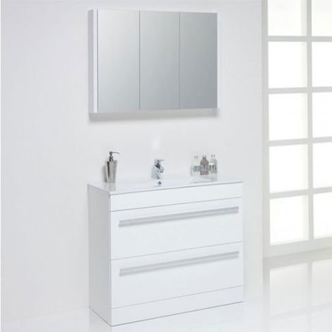 Kartell Purity Mirrored Bathroom Cabinet 900mm W White