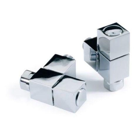 Kartell Square Angled Brass Radiator & Towel Rail Valve Chrome