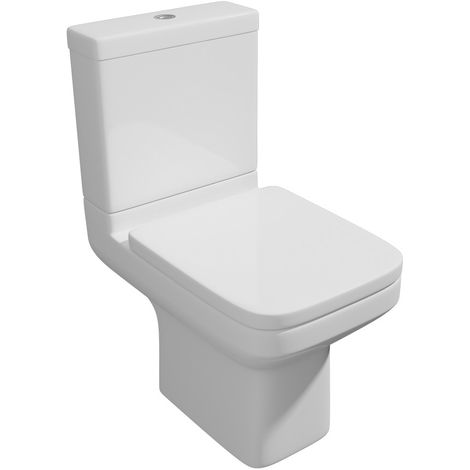 Kartell Trim Ceramic Closed Couple Toilet WC Pan With Cistern & Soft Close Seat