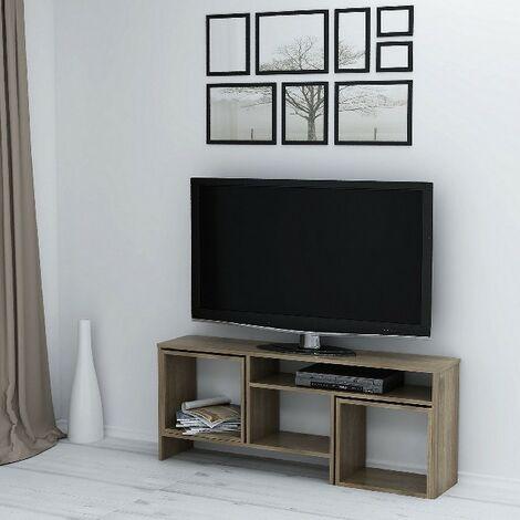 Kasa TV-Schrank mit Couchtisch, Tueren, Regalen - fuer das Wohnzimmer - Nussbaum aus Holz, 141 x 29,5 x 57cm,