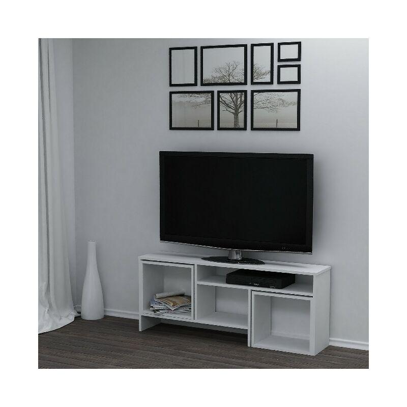 Kasa TV-Schrank mit Couchtisch, Tueren, Regalen - fuer das Wohnzimmer - Weiss aus Holz, 141 x 29,5 x 57cm, - HOMEMANIA