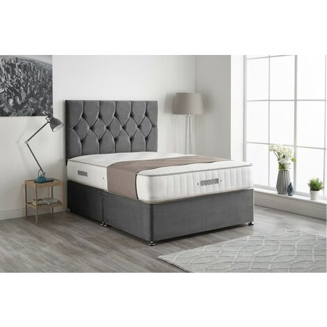 """main image of """"Kashmera Pocket Sprung Memory Foam Silver Divan bed No Drawer With Headboard"""""""