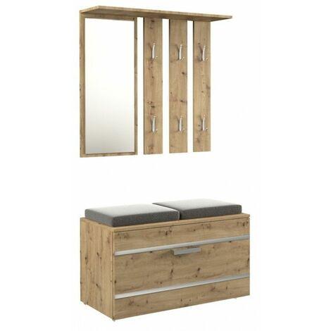 KATHI - Meuble d'entrée miroir + banc| Dimensions 35x85x180 - Banc de Rangement à Chaussures - 6 crochets - Vestiaire - Chêne
