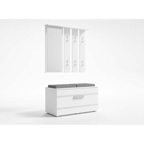 KATHI   Meuble d'entrée miroir + banc   41x85x180 cm   Banc de Rangement à Chaussures   6 crochets   Vestiaire   Blanc - Blanc