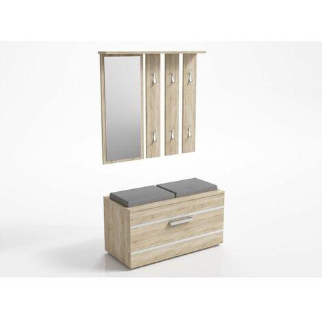 KATHI | Meuble d'entrée miroir + banc | 41x85x180 cm | Banc de Rangement à Chaussures | 6 crochets | Vestiaire - Sonoma - Sonoma
