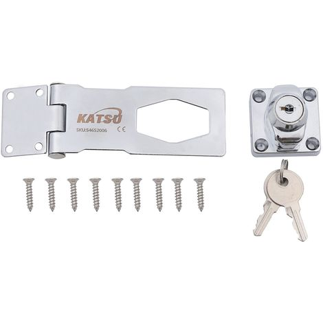 KATSU Hasp and Staple Gate Cupboard Cabinet Door Safety Lock W/Keys Chrome 4""