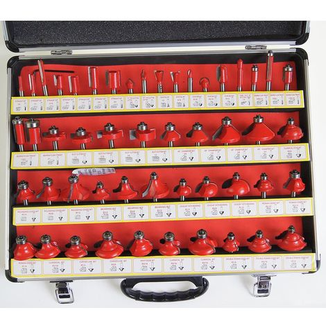 """KATSU Wood Working Router Bit Set for Electric Router Trimmer 50PCs 1/4"""" Shank"""