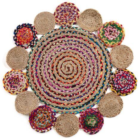 Kave Home - Alfombra Ginnis multicolor redonda Ø 100 cm de yute natural y algodón