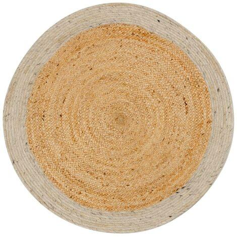 Kave Home - Alfombra Meray gris y natural redonda Ø 100 cm de yute natural y lana