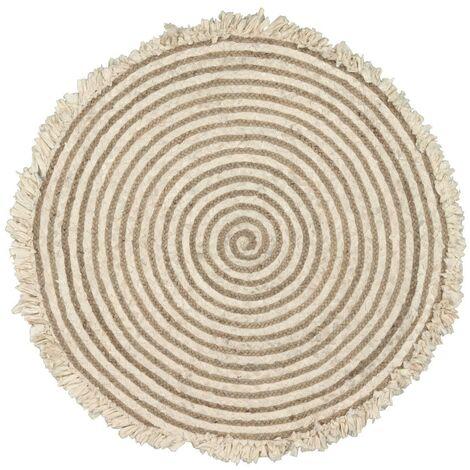 Kave Home - Alfombra redonda Gisel de yute y algodón de Ø 120 cm