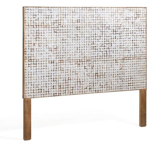 Kave Home - Cabecero Kron blanco 174 x 135 cm de cáscara de coco para camada de 160 cm