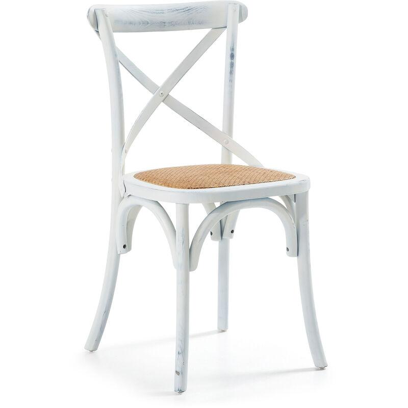Kave Home - Chaise de salle à manger Alsie blanc en rotin avec structure en bois massif d'orme